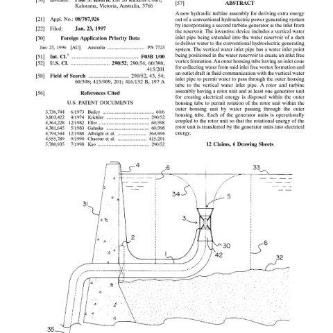 Vortex Turbine Patent Abstract