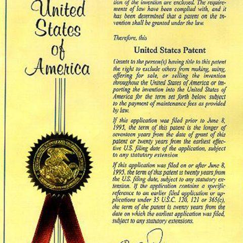 US Patent Certificate